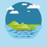 Flat Nature Design With Clouds And Sea Royalty Free Stock Photography