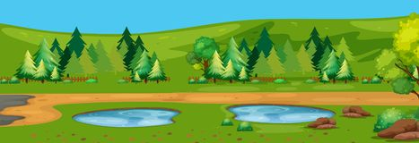 A flat nature landscape. Illustration royalty free illustration