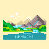 Flat nature landscape illustration with sun, mountains and clouds. Camping in the mountains. Flat design nature landscape illustration with sun, mountains and Stock Image