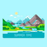 Flat nature landscape illustration with sun, mountains and clouds. Camping in the mountains. Flat design nature landscape illustration with sun, mountains and Stock Photography