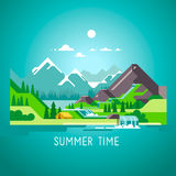 Flat nature landscape illustration with sun, mountains and clouds. Camping in the mountains. Flat design nature landscape illustration with sun, mountains and Royalty Free Stock Photography