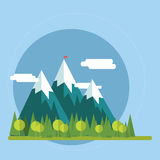 Flat nature landscape illustration Stock Photography