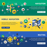 Flat Navigation Banner Set. With descriptions of mobile navigations and routing vector illustration Royalty Free Stock Images