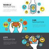 Flat Navigation Banners. Flat horizontal banners set of mobile car and city navigation vector illustration royalty free illustration