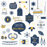 Flat navy blue and orange Christmas icons set. Flat navy blue and orange Christmas icons and design elements set on white background Stock Photo