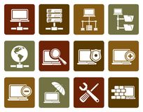 Flat Network, Server and Hosting icons. Vector icon set Stock Photography