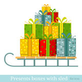 Flat new year gift-box on sled on white Stock Photography