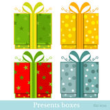 Flat new year gift-box. On white Royalty Free Stock Photo