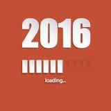 Flat new year 2016 loading background. Design with orange background stock illustration
