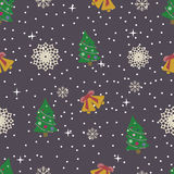 Flat new year seamless pattern. Vector illustration Royalty Free Stock Photography