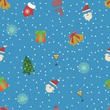 Flat new year seamless pattern. Vector illustration Royalty Free Stock Photos