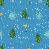 Flat new year seamless pattern. Vector illustration Royalty Free Stock Photo