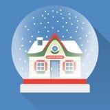 Flat New Year snow globe. Christmas snow globe. Vector snow globe isolated. Merry Christmas glass ball with a Santas House inside Royalty Free Stock Photography