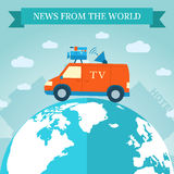 Flat news car icon travels around the world Stock Images