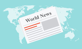 Flat newspaper on the world map. Vector illustration Stock Image