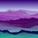 Flat night landscape illustration. Beautiful hills, vector design Stock Images