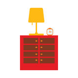Flat nightstand with lamp Stock Image