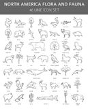 Flat North America flora and fauna elements. Animals, birds and. Sea life simple line icon set. Vector illustration vector illustration