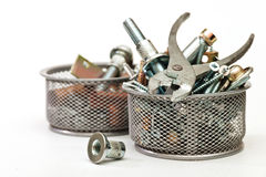 Flat-nose pliers. Nuts, bolts, screws.Nuts, bolts, screws. A set for the mechanic Royalty Free Stock Photo