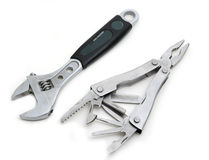 Flat-nose pliers and Adjustable spanner Royalty Free Stock Photography