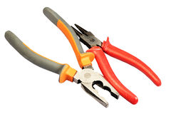 Flat-nose pliers on a white background Stock Photography