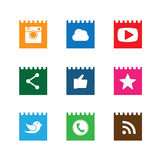 Flat notepad paper button designs of camera, like, messenger bir Stock Images