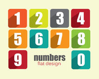Flat Numbers - colorful flat design Royalty Free Stock Image