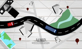 Flat object design set, logistic map top view stock illustration