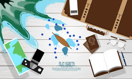 Flat object design set, ready to travel and adventure royalty free illustration