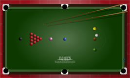 Flat object design set, snooker table and equipments top view stock illustration
