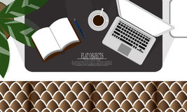 Flat object design set, working space on the couch vector illustration