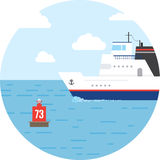 Flat ocean and sea transport boat Stock Photo