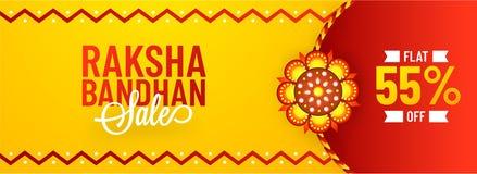 Flat 55% off offer for Raksha Bandhan sale, banner or header des. Ign with illustration of decorative rakhi on yellow and red background royalty free illustration