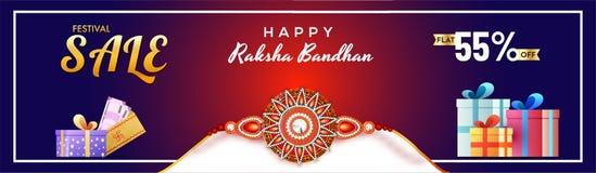 Flat 55% off offer for Raksha Bandhan sale banner or header desi. Gn with illustration of rakhi, gift boxes and envelope of money stock illustration