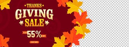Flat 55% off offer sale for Thanksgiving Day Celebration. Maple leaves decorated header or banner design stock illustration
