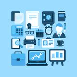 Flat  office and business icons. Flat  icon set office and business symbols, finance and business design elements and supplies Stock Photo