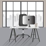Flat office concept illustration. Vector workplace modern design stock illustration