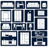 Flat office and home furniture silhouette icons Royalty Free Stock Photo