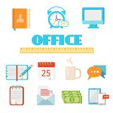 Flat office icon set. Vector colored flat office icon set for Web and Mobile Application (app Stock Photo