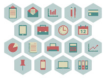 Flat office icons Stock Image