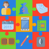 Flat office puzzle elements Stock Images