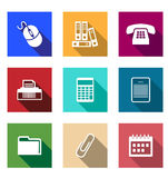 Flat office supply icons. With a computer mouse files telephone printer calculator PDA folder paper clip and a desktop calendar for application design Royalty Free Stock Image