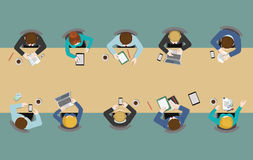 Flat office table top view: meetings, report, brainstorm, staff