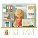 Flat Office Team Accountant. Flat illustration woman accountant in the office workplace royalty free illustration
