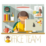 Flat Office Team Designer Stock Photography