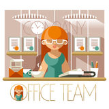 Flat Office Team Secretary Stock Images