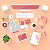 Flat office workspace Stock Image