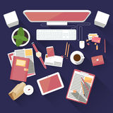 Flat office workspace Royalty Free Stock Image