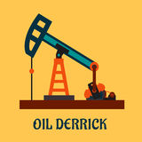 Flat oil derrick or pump jack Stock Photos