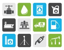 Flat oil and petrol industry objects icons Stock Photo